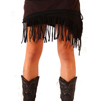Black Pixie Wrap Mini Skirt  - Tutu -  Rave - Goa - Psy Fashion - Psy - Festival - Women - Polar skirt