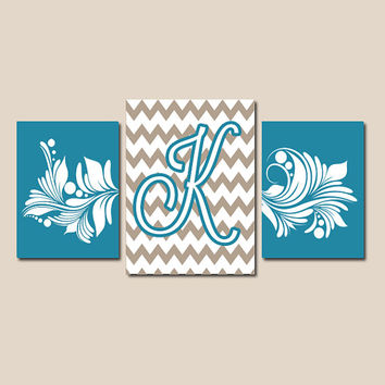 Turquoise Chevron Swirl Family Monogram Initial Letter Set of 3 Trio Prints two 8x10 and one 11x14 Wall Decor Abstract Art Picture