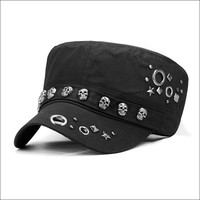 Hip Hop Skull Flat Hats Punk Rivet Ring Army Fitted Hats