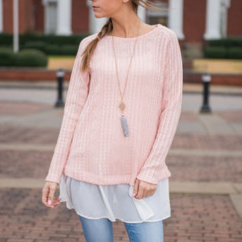 Another Frilly Love Song Sweater, Blush