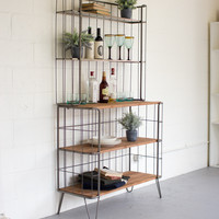 Recycled Honey Wood And Raw Metal Hutch