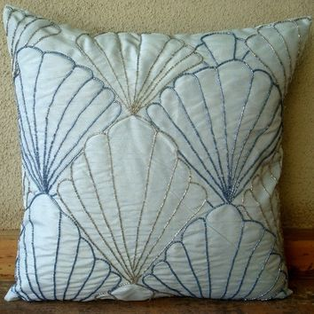 Shells - Throw Pillow Covers - 20x20 Inches Silk Pillow Covers with Bead Embroidery