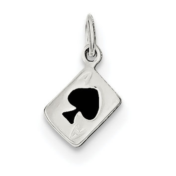 Sterling Silver Enameled Ace Of Spades Card Charm QC6986