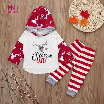 Newborn Infant Girls Boys Christmas Deer Letter Tops+ Pants Outfits Clothes Sets overalls children winter costume baby clothes