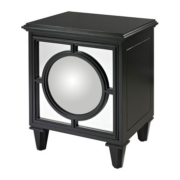 Mirage Gloss Black Cabinet With Convex Mirror By Matt Black