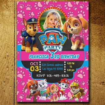 Invitations - Paw Patrol Invitation - Paw Patrol Birthday - Paw Patrol Invitations - Girls Party - Free Shipping