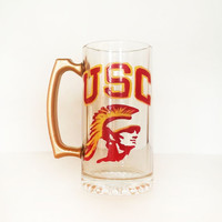 USC Beer mug - hand painted - sports logo beer mug - large