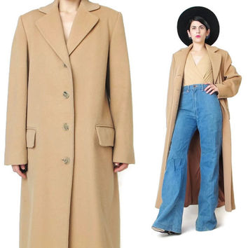 Vintage Calvin Klein Coat Wool Camel Coat Long Wool Coat 1980s Tan Wool Coat Minimalist Boyfriend Coat Womens Tailored Trench Coat (M)