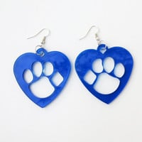MARCH MADNESS Paw Print Earrings Large Blue Wildcat Arizona Kentucky Sports Jewelry Animal Lover Heart Earrings Love Pawprint Free Shipping