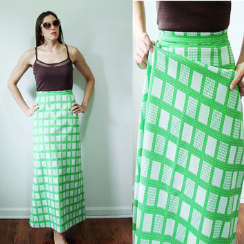 VINTAGE 1960s LIME Green & White Geometric Maxi Skirt Textured Fabric Small