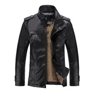 Partiss Mens PU Leather Outerwear