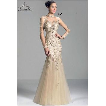 Mermaid Evening Dresses Appliques Beading Floor Length Tulle Zipper Hollow Long Sleeve Formal Prom Pagent Gowns Custom Made