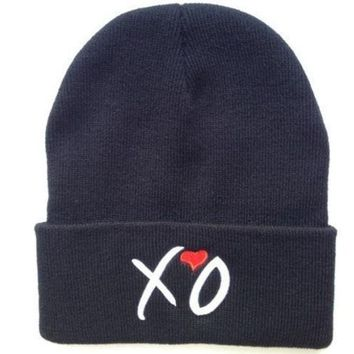 Hip Hop Fashion Xo Beanies Hats Wool Winter Cotton Knitted Warm Caps Snapback Hat For Man And Women (color: Black)