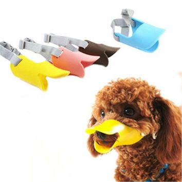 Dog Muzzle Silicone Cute Duck Mouth Mask Muzzle Bark Bite Stop Small Dog Anti-bite Masks For Dog Products Pets Accessories 20S1