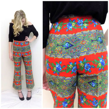 70s vintage bell bottom pants high waisted flare pants red paisley boho hippie trousers size medium
