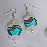Sea Glass Earrings with Lampwork Wave beads