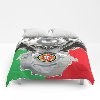 Portuguese Motorcycle Riders Comforters by Tony Silveira