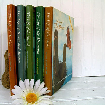Our Living World Of Nature Series of 5 Books The Life of the Cave; Mountains; Desert; Marsh; Rivers & Streams Vintage Deluxe Library Books