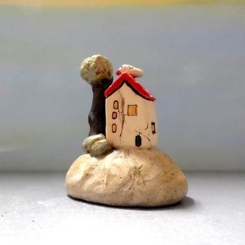 Miniature white house , clay house , ceramic house , collectible house , little house rustic style , Art & collectibles Mediterranean house
