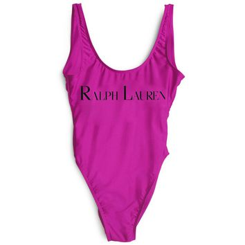 Ralph lauren New Fashion Black Letter Print Swimsuit One Piece Bikini Suit Rose red