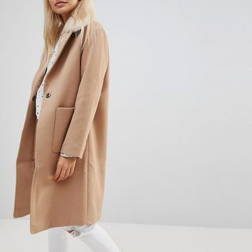 New Look Petite Faux Fur Collar Crombie Coat at asos.com
