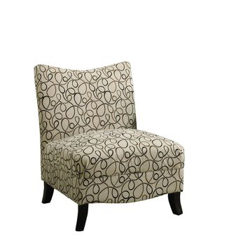 Tan Swirl Fabric Accent Chair