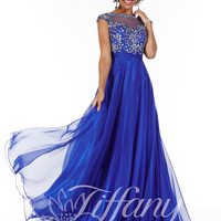 High Neckline With Cap Sleeves Beaded Lace Formal Prom Dress Tiffany Designs 16062