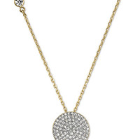 Michael Kors Gold-Tone and Clear Glitz Disc Pendant Necklace