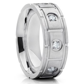Titanium Wedding Band - Silver Titanium - Men's Wedding Ring - CZ Ring