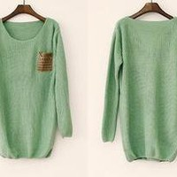 BlueBand — Loose Mint Sweater With Leather Packet