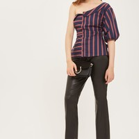 Striped One Shoulder Shirt Top | Topshop