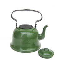 Green Soviet teapot tea kettle large vintage enamel kitchen farmhouse tea coffee enamelware USSR shabby chic