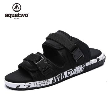 Aquatwo 2017 Summer Slippers New Arrival Flat Breathable Wear-resisting Sandals Men Black US6.5-10# Beach Casual Slides