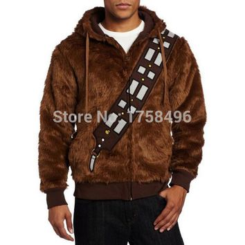 Star Wars I Am Chewie Chewbacca Furry Polyester Brown Costume Hoodie Cosplay Jacket Coat