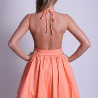 Apricot Mini Dress with Open Tie Back and Frill Hem