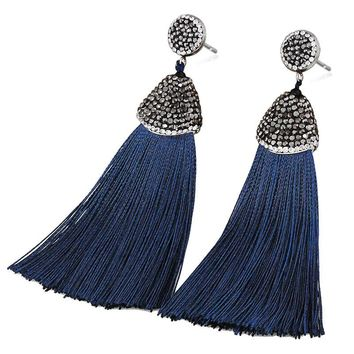 Bohemia Crystal Silk Tassel Earrings Handmade High Quality Black Burgundy Long Drop Tassel Dangle Earrings For Women Jewelery