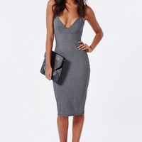 Missguided - Elastane Bodycon Midi Dress Grey