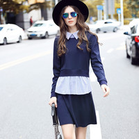 Lady Preppy Style 2 in 1 Layered Shirt Dress Long Sleeve Plus Size Winter Office Work Dresses l to 5xl