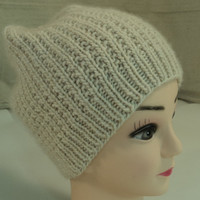 Handcrafted Slouchy Hat Cream Reversible Soft Merino Alpaca Silk Female Adult -- New No Tags