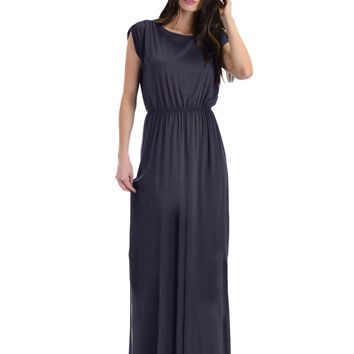 Lyss Loo Timeless Charcoal Maxi Dress With Elastic Waist & Side Slit