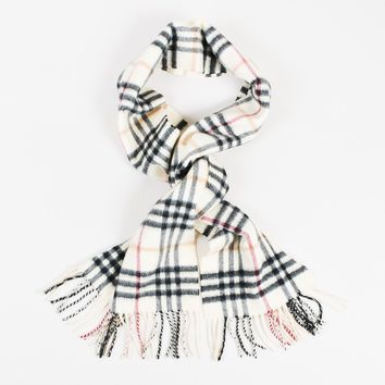 "Burberry Beige Multicolor Cashmere ""Nova Check"" Fringed Scarf"