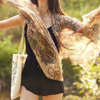 Aoki Fashion - Retro Ethnic Floral Voile Shawl Scarf