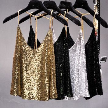 DKF4S 2017 Summer sexy Supper metal chain blingbling sequins halter camis women short loose backless metallic shiny camisole strap top