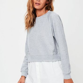Missguided - Grey Shirt Insert Sweatshirt