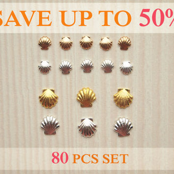Set of 80 pcs metallic seashell nail charms gold and silver colors 2 sizes