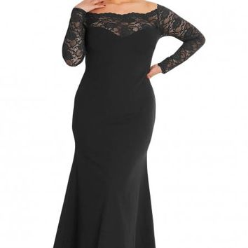 Black Lace Off The Shoulder Plus Size Maxi Dress