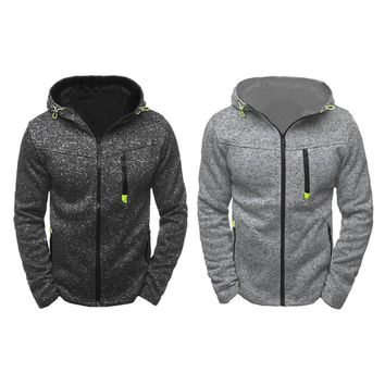 2018 Men 's Sports and Leisure Jacquard Sweater Fleece Cardigan Hooded Jacket Fleece lined with zipper Jacket Leisure Sweater