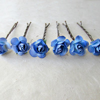 Royal Blue Rose Bobby Pins. Bright Blue Ombre Flower Hair Pins for Weddings, Everyday Romance. Handmade Paper Flower Hair Accessories.