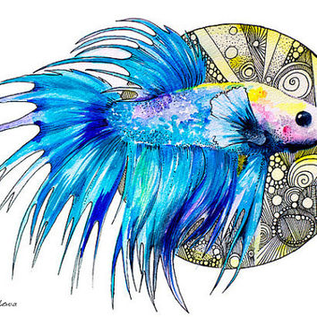 "Betta fish watercolor painting print 8"" x 12"""