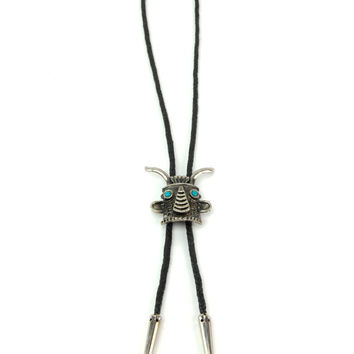 Vintage Silver Turquoise Native American Kachina Head Bolo Tie Necklace